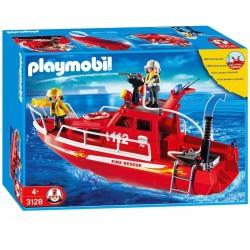 Barco de bomberos con bomba a presión