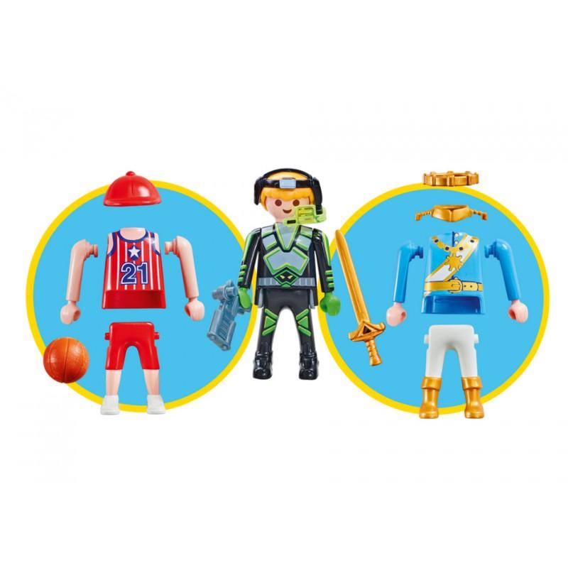 Playmobil 9828 3 Figuras Niño en 1 - Príncipe, Jugador de Basket ó Explorador Espacial