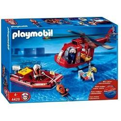 Helicóptero y bote de rescate